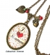 S.7.266 collier pendentif j'aime maman coeur fleurs liberty bijou fantaisie bronze cabochon verre cadeau maman cadeau fête des mères