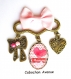S.7.320 broche épingle j'aime maman coeur noeud pois bijou fantaisie bronze cabochon verre cadeau maman cadeau fête des mères