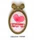 S.7.321 broche pendentif noeud j'aime maman coeur noeud pois bijou fantaisie bronze cabochon verre cadeau maman cadeau fête des mères