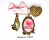 S.7.322 broche épingle love coeur j'aime maman coeur noeud pois bijou fantaisie bronze cabochon verre cadeau maman cadeau fête des mères