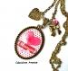 S.7.327 collier pendentif j\'aime maman coeur noeud pois bijou fantaisie bronze cabochon verre cadeau maman cadeau fête des mères