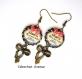 S.7.343 boucles d'oreilles crochets noeuds maman ma belle etoile noeud bijou fantaisie bronze cabochon verre cadeau maman cadeau fête des mères (série 1)