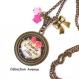 S.7.344 collier pendentif maman ma belle etoile noeud bijou fantaisie bronze cabochon verre cadeau maman cadeau fête des mères (série 1)