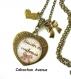 S.7.357 collier pendentif coeur love maman besoin de tendresse bijou fantaisie cabochon bronze verre cadeau maman cadeau fête des mères
