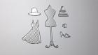 Lot die de découpe métallique couture robe chaussure mannequin vintage retro idéal pour carte album carte scrap noel anniversaire cadeau