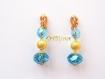 Boucles d'oreilles  avec clip dore et  cristaux bleu