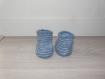 Chaussons bébé bleu denim et bleu horizon 0-1 mois