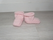 Ensemble salopette chausson bébé fillette 0 3 mois tricoté main - cadeau naissance