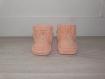 Chaussons bébé 0-3 mois - abricot - tricotés main - cadeau naissance