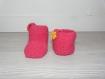 Ensemble chaussons, bonnet laine - 0-3 mois - tricotés main - cadeau naissance