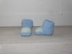 Chaussons bébé 0-3 mois - bleu et vert - tricotés main - cadeau naissance
