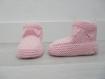 Chaussons bébé 0-6 mois - rose - tricotés main - cadeau naissance