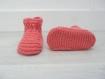 Chaussons bébé 0-6 mois - oeillet - tricotés main - cadeau naissance