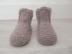 Chaussons bébé 0-6 mois - biche - tricotés main - cadeau naissance