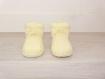 Chaussons bébé laine 0-6 mois - jaune poussin - tricotés main - cadeau naissance