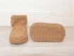 Chaussons bébé laine 0-6 mois - marron camel - tricotés main - cadeau naissance