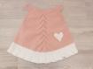 Robe noeud bébé 3 mois rose tricotée main - cadeau naissance