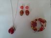 Parure trois pièce perles de verre miel et rouge a193