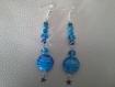 Parure trois pièce perles bleues en verre étoilé a194