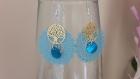 Boucles d oreille filigrane bleu et or pastille de nacre a397