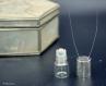 Collier - flacon roll-on 2ml - capuchon argent gravé et verre