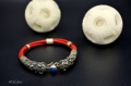 Bracelet - cuir rouge et double tête de dragon en argent - pierre : lapis-lazuli