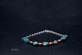 Bracelet - turquoise,corail,os sur fil de coton - collection ethnique