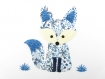 Appliqués thermocollants renard bleu en liberty adelajda bleu et flex pailletés.
