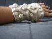 Mitaine, gant, main, ecrue elegante
