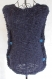 Pull femme sans manche marine laine merinos alpaga et mohair t 38 / m
