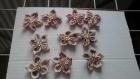 Lot de 10 fleurs kanzashi en tissu en melange