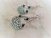 Boucles d'oreilles lapis lazuli argent massif 925 délicate texturé,ethnique,bohème,croissant de lune,oxydé,rosace,maya,soleil,bleu,bleu nuit
