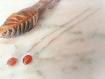 Boucles d'oreilles ambre argent massif longues,fil d'oreille coulissantes,réglable,chaine,originales,orange,résine,cuivre,brut,naturelles