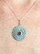 Collier pendentif cabochon cornaline argent texturé-patiné-pierre naturelle-médaille-rosace-poétique-finesse-rond-soleil-ancien-ethnic jewel