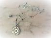 Collier médaille argent massif 925 texturé et patiné-soleil-rosace-poétique-finesse-rond-maya-style ancien-unique-fin-silver stone necklace