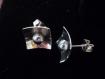 Boucles puces graphiques argent massif & perles grises carrées,moderne,épuré,design,graphique,géométrique,chic,clous