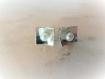 Puces d'oreilles argent massif & perles d'eau douce blanches carrées,design,épuré,moderne,classique
