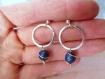 Boucles d'oreilles gros lapis lazuli argent massif,anneaux,cercle,martelé,pierre bleue or,puces,clous,rond,pierre fine,semi précieuse