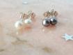 Puces d'oreilles argent massif & perles d'eau douce grises,simple,sobre,petites,classique,naturelle,clous,chic,discret,petit,classique,bijou