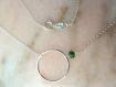 Collier cercle anneau argent massif,émeraude,rond,discret,chic,moderne,pierre précieuse,moderne,tendance,simple,graphique,tous les jours