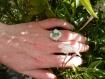 Bague argent massif 925 texturé et pampilles de pierres naturelles aventurines,végétal,breloques,bohème,gypsy,bobo,réglable,ajustable,grelot