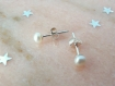 Puces d'oreilles argent massif & perles d'eau douce blanches véritables,petites boucles,simple,sobre,classique,naturelle,clous,chic,discret,