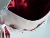 Pochette rose blanc en simili cuir rose et blanc dentelle fleurs rose perles multicolore pompon simili cuir