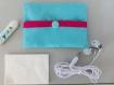 Mini pochettes  bleu lagon fermee par pression