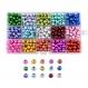 1 boite de 450 perles en verre tréfilé 8mm à 15 compartiments mélange de couleur ( 30 de chaque couleur)