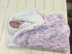 Couverture bebe naissance laine beige chine rose 80x50