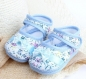 Ballerines pour petites filles fleuries bleu et blanc noeud bleu en toile  0/4mois