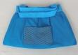 Sac à main / pochette maquillage femme - patchwork tissus coton-  bleu turquoise / marron / blanc - modèle unique - fait main - accessoire mode cadeau