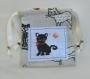 Sac pochon chat noir - en tissu coton - broderie main - souris blanche en laine tricotée main - accessoire jouet chat - cadeau fête des mères - fait main