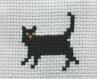 Marque-page original - en tissu coton - brodé main - angleterre - chat noir et garde royal - 6 cm x 21 cm - 100% fait main - idée cadeau